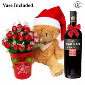 Christmas Teddy Wishes With Red Wine To Israel