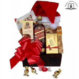 Christmas Red Johnnie Walker Whiskey Gift Basket Israel